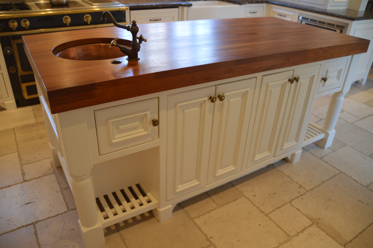 SOLD! HIGH-END WHITE FRENCH COUNTRY KITCHEN CABINETS,MARBLE,ISLAND & COPPER HOOD
